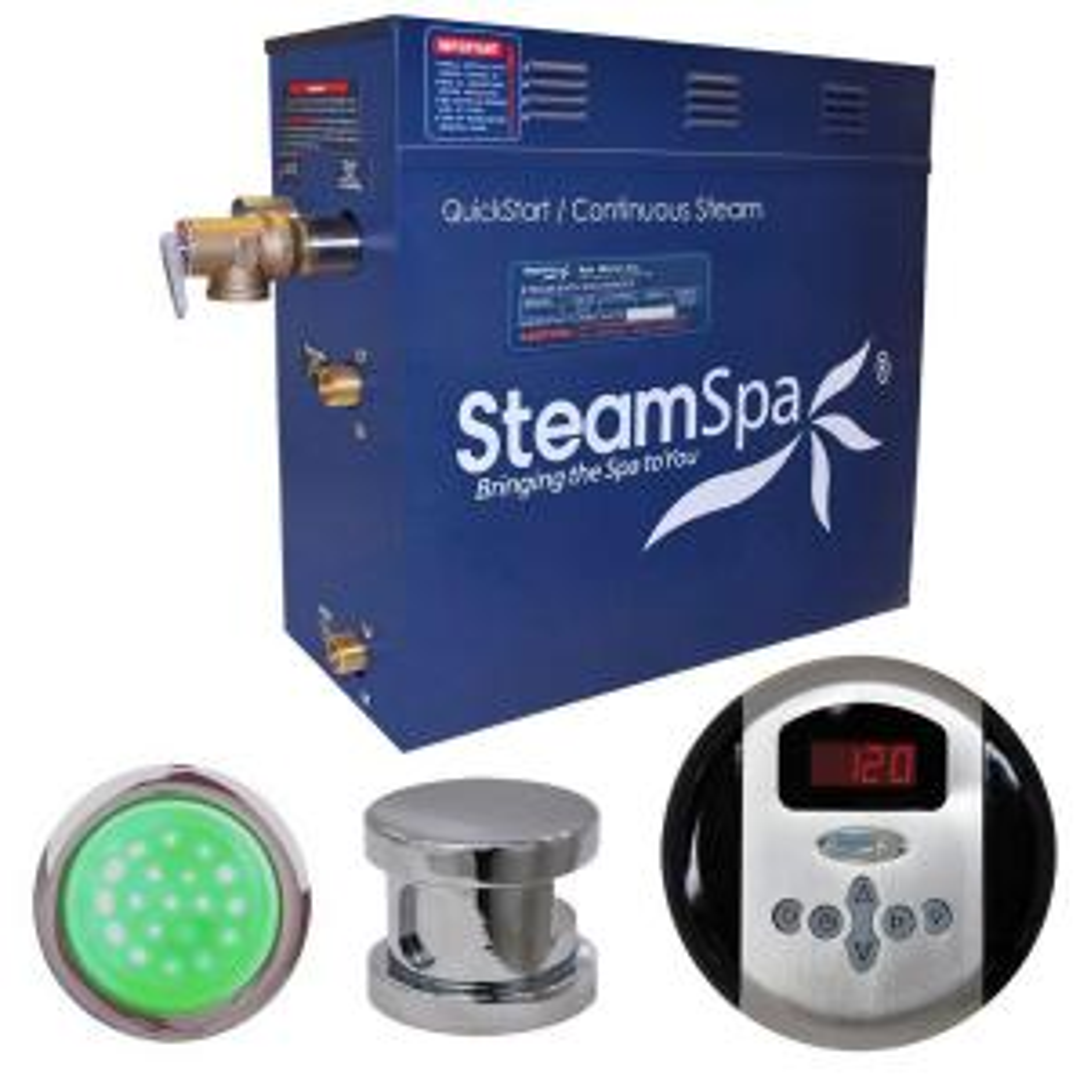 SteamSpa Indulgence 7.5kW Steam Bath Generator Package in Chrome by SteamSpa
