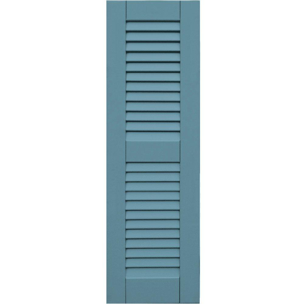 null Wood Composite 12 in. x 39 in. Louvered Shutters Pair #645 Harbor