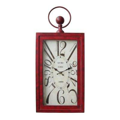 Waverly Distressed Red Rectangle Wall Clock
