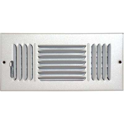 4 in. x 10 in. Ceiling/Sidewall Vent Register, White with 3-Way Deflection