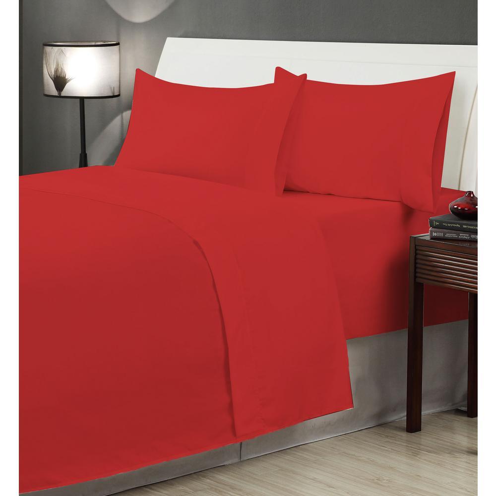 6-Piece Red Microfiber Queen Sheet Set