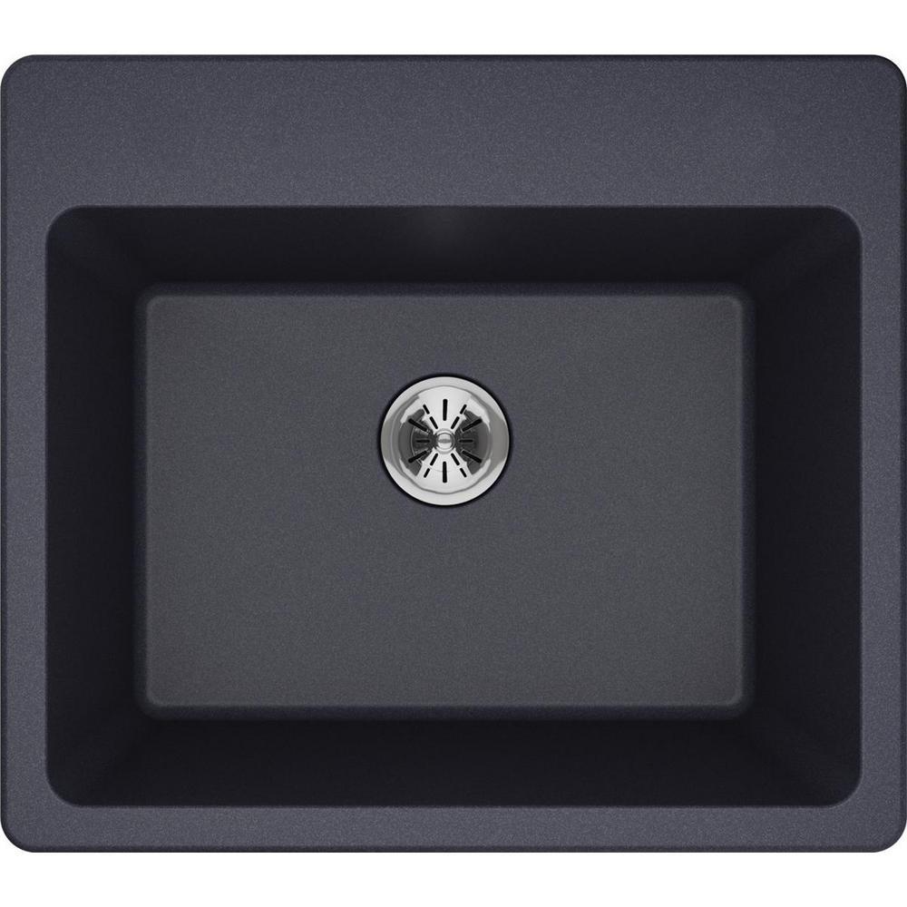 Quartz Classic Perfect Drain Drop-In 25 in. Laundry Sink in Gray