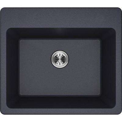 Quartz Classic Perfect Drain Drop-In 25 in. Laundry Sink in Gray