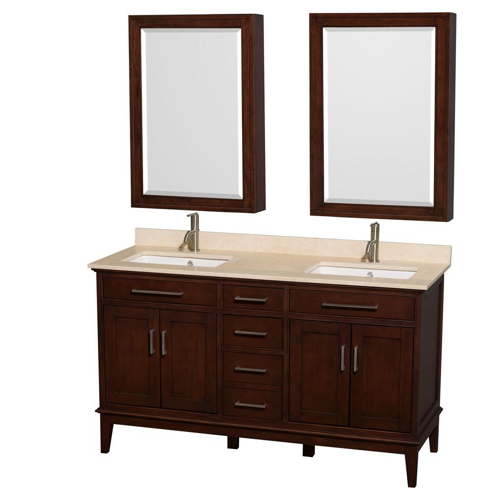 Wyndham Collection Hatton 60 in. Double Vanity in Dark Chestnut with Marble Vanity Top in Ivory and Undermount Square Sinks