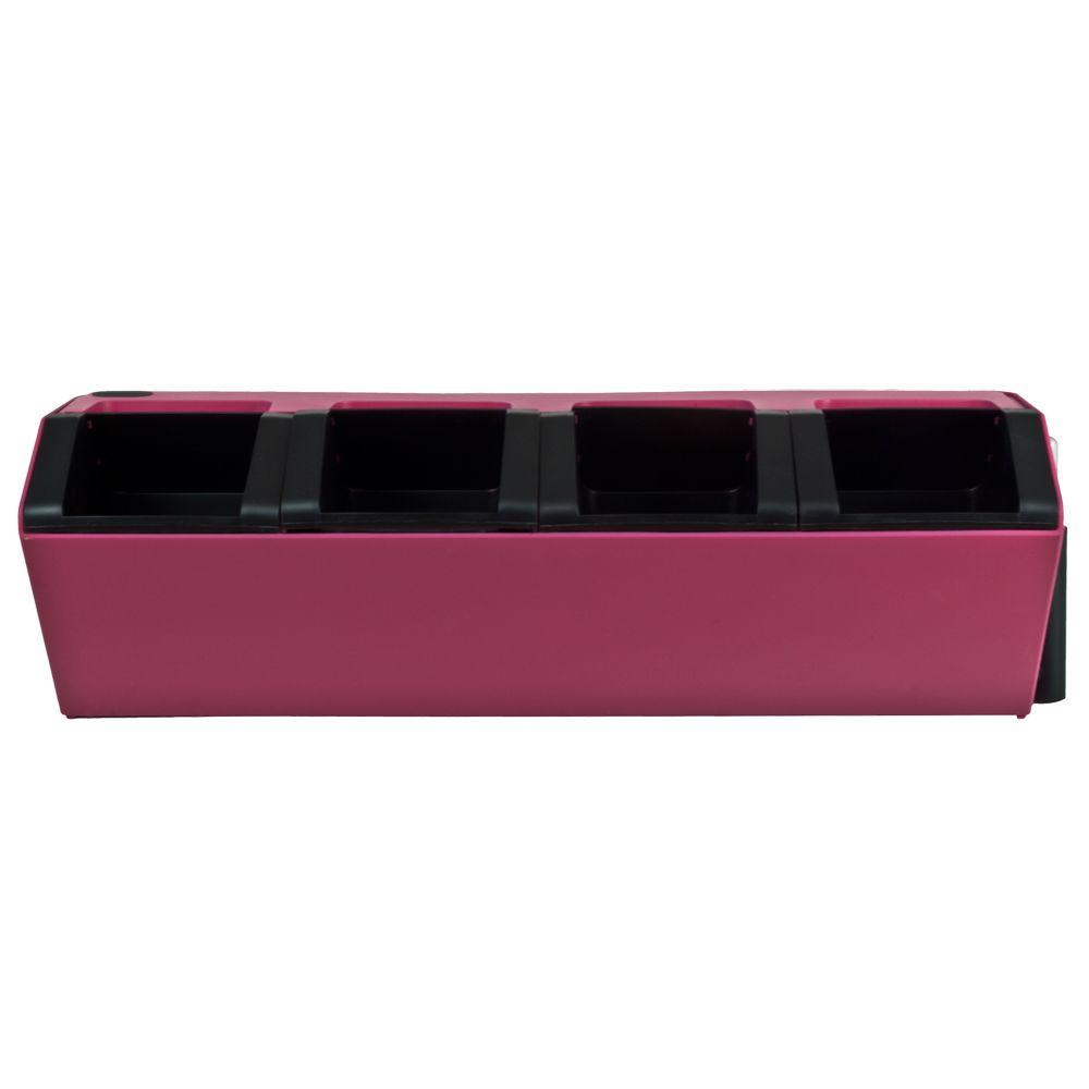 Pride Garden Products Vesi 7 in. L x 22.5 in. W x 7 in. H Pink Plastic Self-Watering Wall Planter