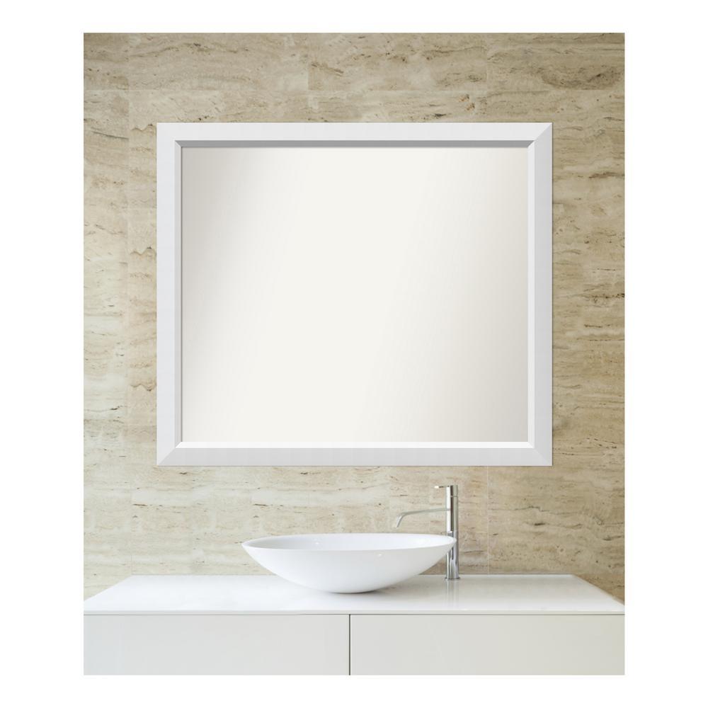 Medium Rectangle White Modern Mirror (33 in. H x 38 in. W)