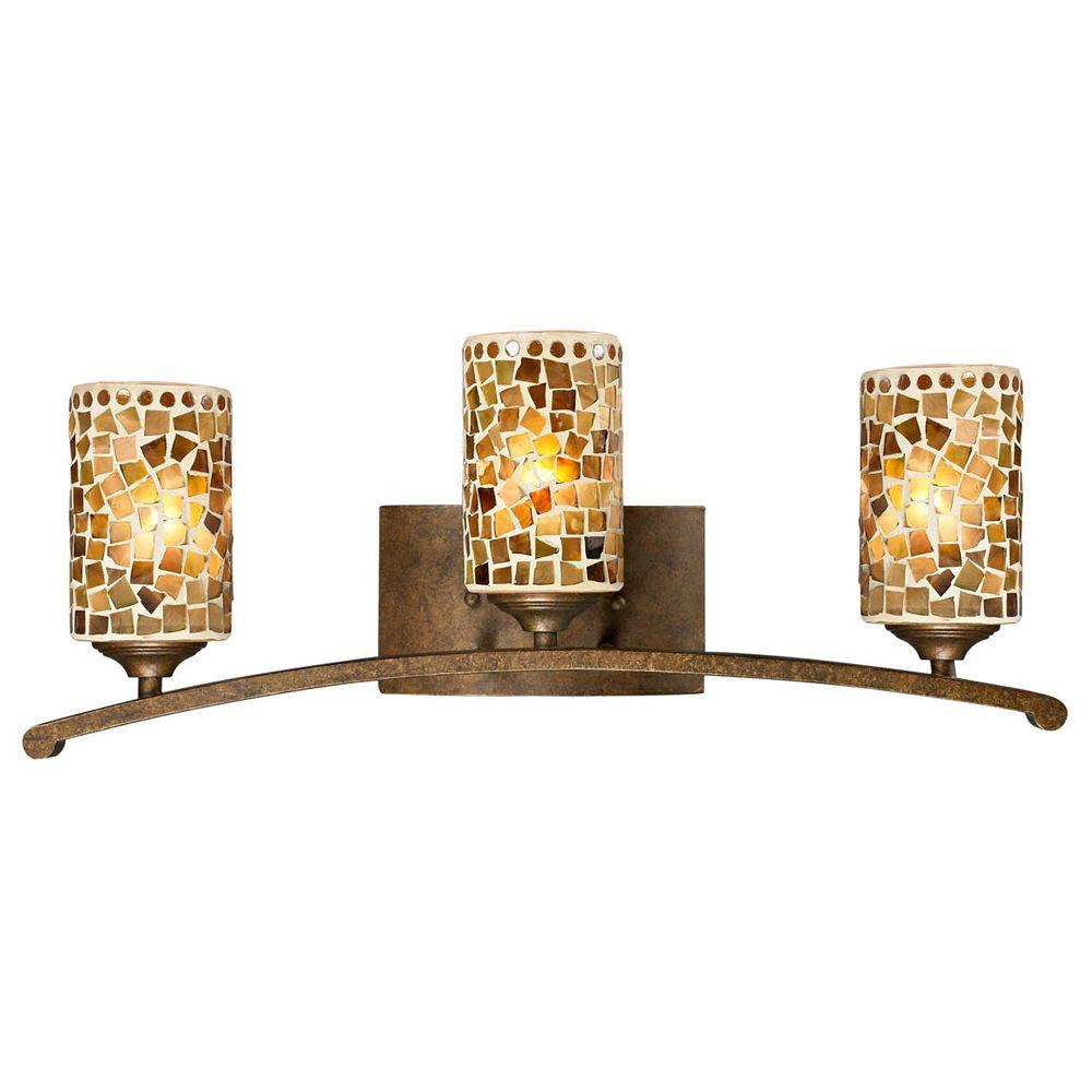 Art Glass Vanity Light : Dale Tiffany Knighton 3-Light Antique Golden Bronze Vanity Bar Light with Mosaic Art Glass ...