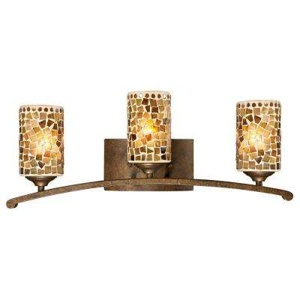 Knighton 3-Light Antique Golden Bronze Vanity Bar Light with Mosaic Art Glass