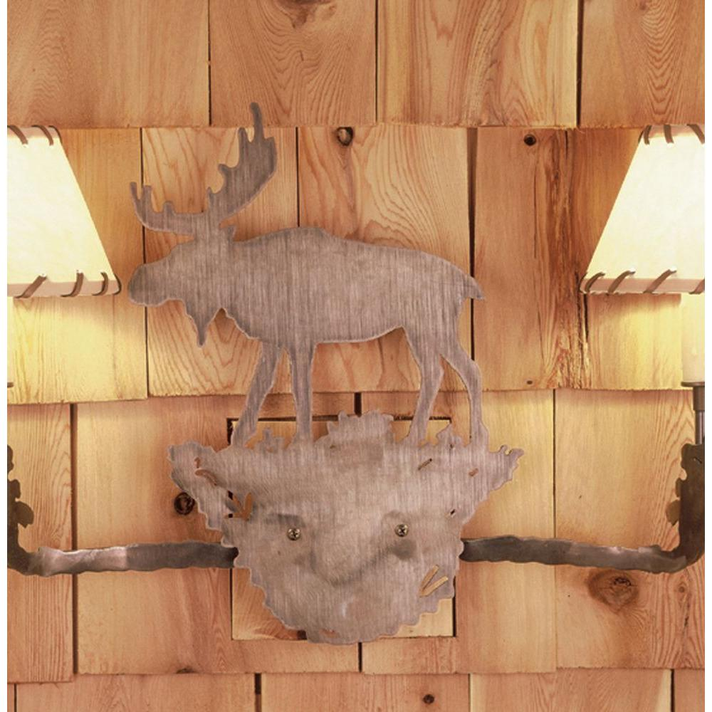 Illumine 2 Light Moose Rawhide Shade Wall Sconce Antique Copper Finish Fabric Glass