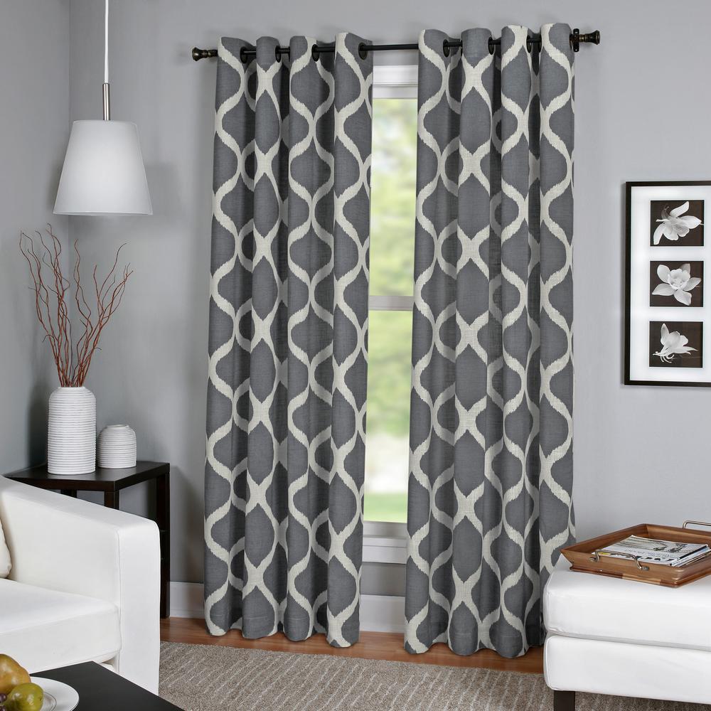 Luna Charcoal Linen Look Window Curtain - 52 in. W x 84 in. L