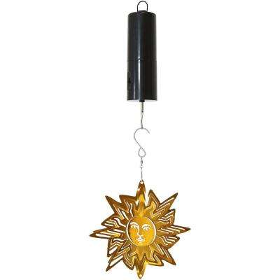 6 in. Gold Sun Whirligig Wind Spinner with Battery-Operated Motor