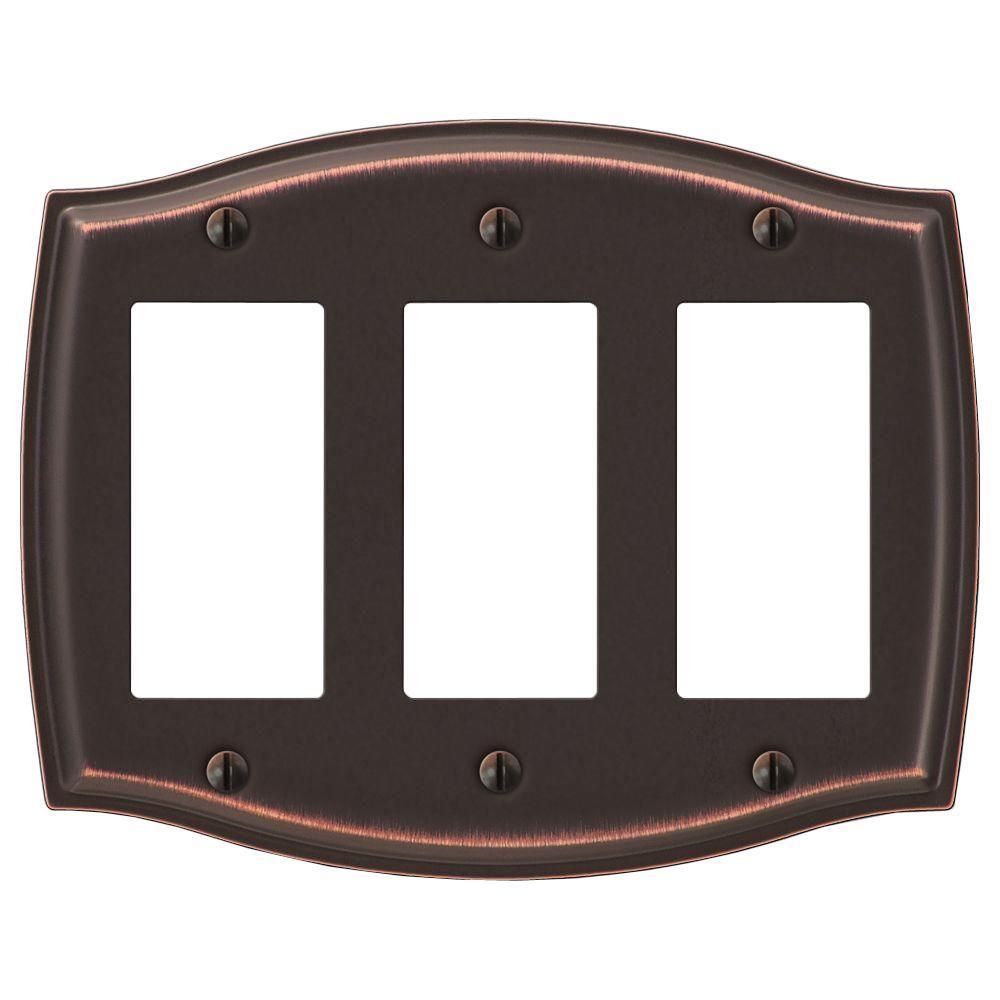 Vineyard 3 Gang Rocker Steel Wall Plate - Aged Bronze