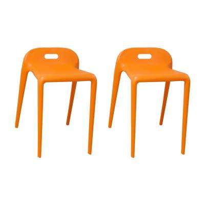 E-Z Stacking 22 in. Modern Plastic Orange Accent Stool Chair (Set of 2)