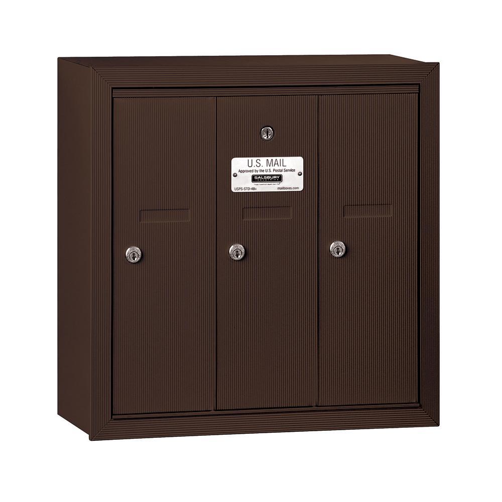 Salsbury Industries Bronze Surface-Mounted USPS Access Vertical Mailbox with 3 Door