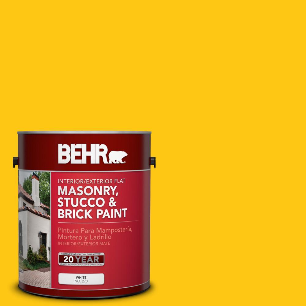 1 gal. #P300-7 Unmellow Yellow Flat Interior/Exterior Masonry, Stucco and Brick