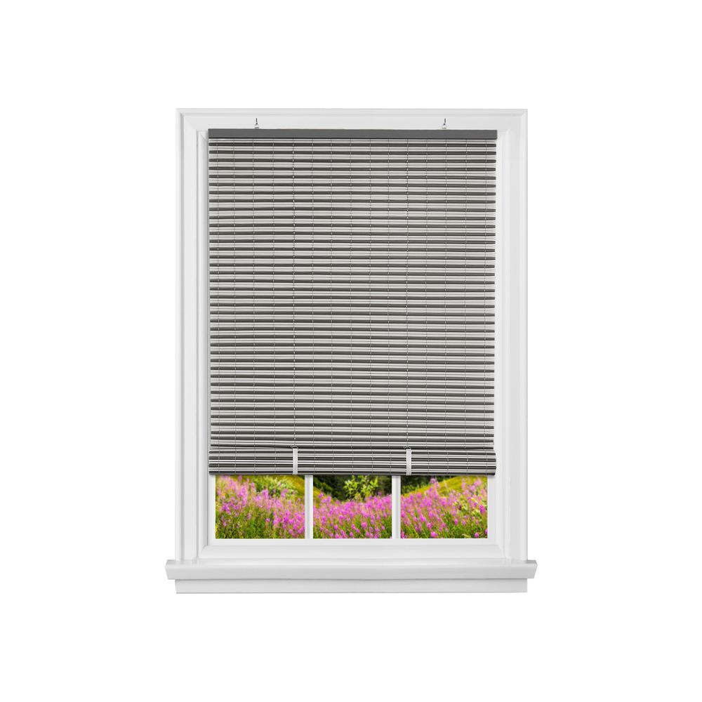Achim Veranda Charcoal Silver Cordless Light Filtering Vinyl Roll Up Blind With 1 4 In Oval Slats 36 In W X 72 In L Vrco36cs06 The Home Depot