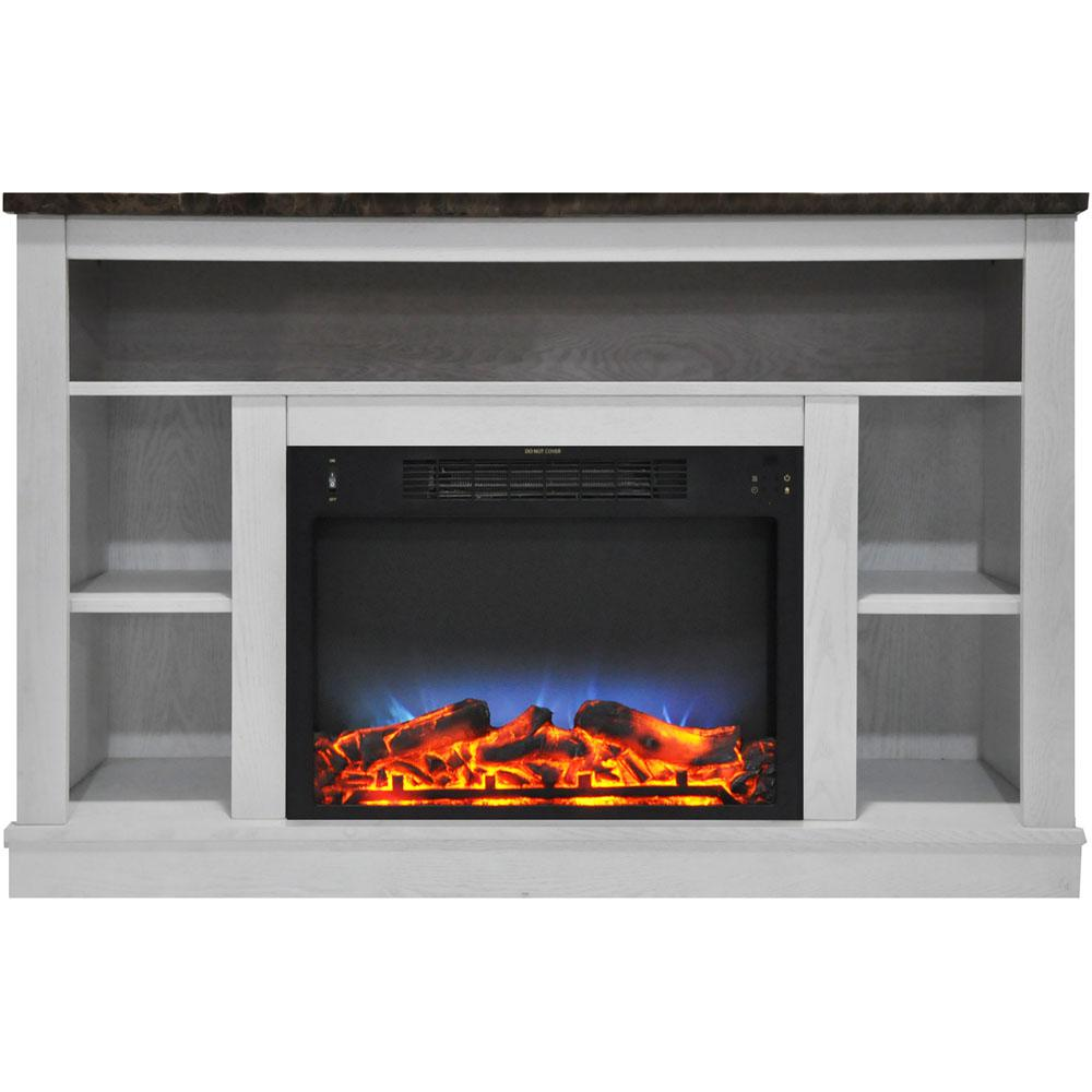 Electric Fireplace With A Multi Color Led Insert And White