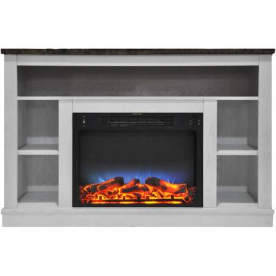 Oxford 47 in. Electric Fireplace with a Multi-Color LED Insert and White Mantel
