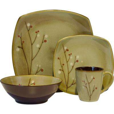 16-Piece Brown Blossom Dinnerware Set
