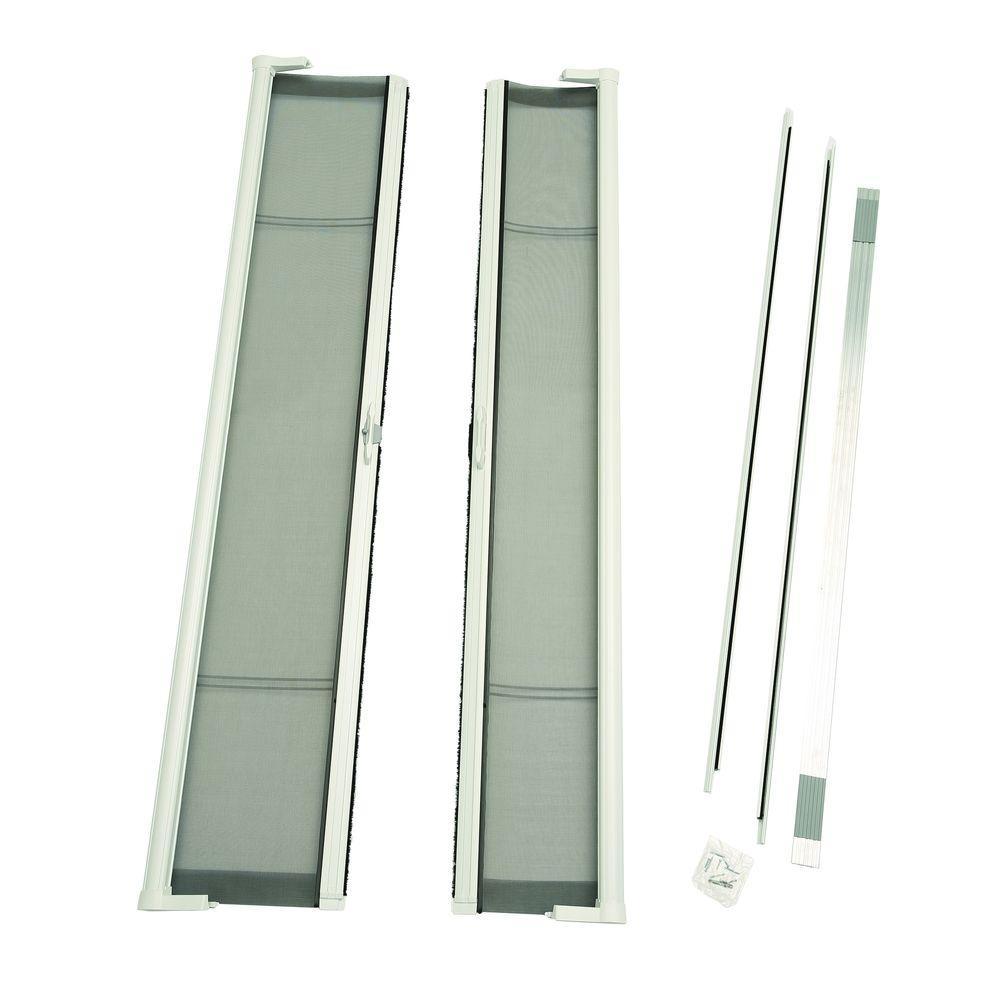72 in. x 78 in. Brisa White Short Height Double Door Kit Retractable Screen Door
