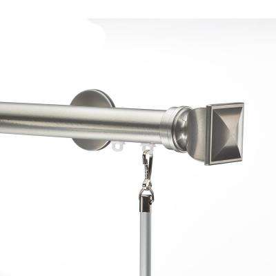 Tekno 25 - 96 in. Non-Adjustable 1-1/8 in. Single Traverse Window Curtain Rod Set in Antique Silver with Bling Finial