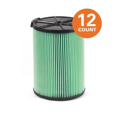 5-Layer HEPA Material Pleated Paper Filter for Most 5 Gal. and Larger RIDGID Wet/Dry Shop Vacuums (12-Pack)