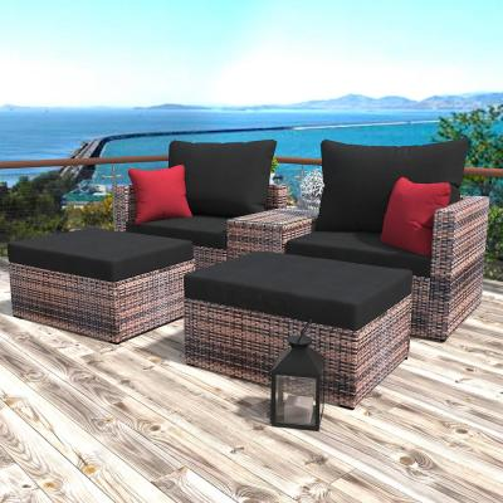 Coline 5-Piece Wicker Patio Conversation Set with Black Cushions