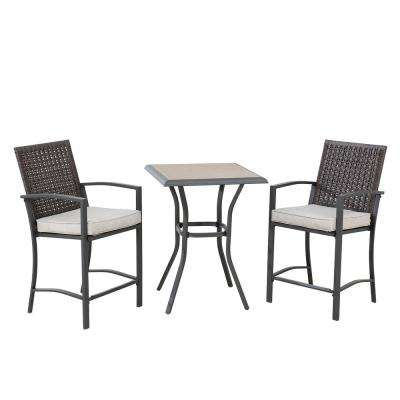 Barneys Collection Dark Brown Steel and Wicker Outdoor Height 3-Piece Bistro Set with Removable Cushions