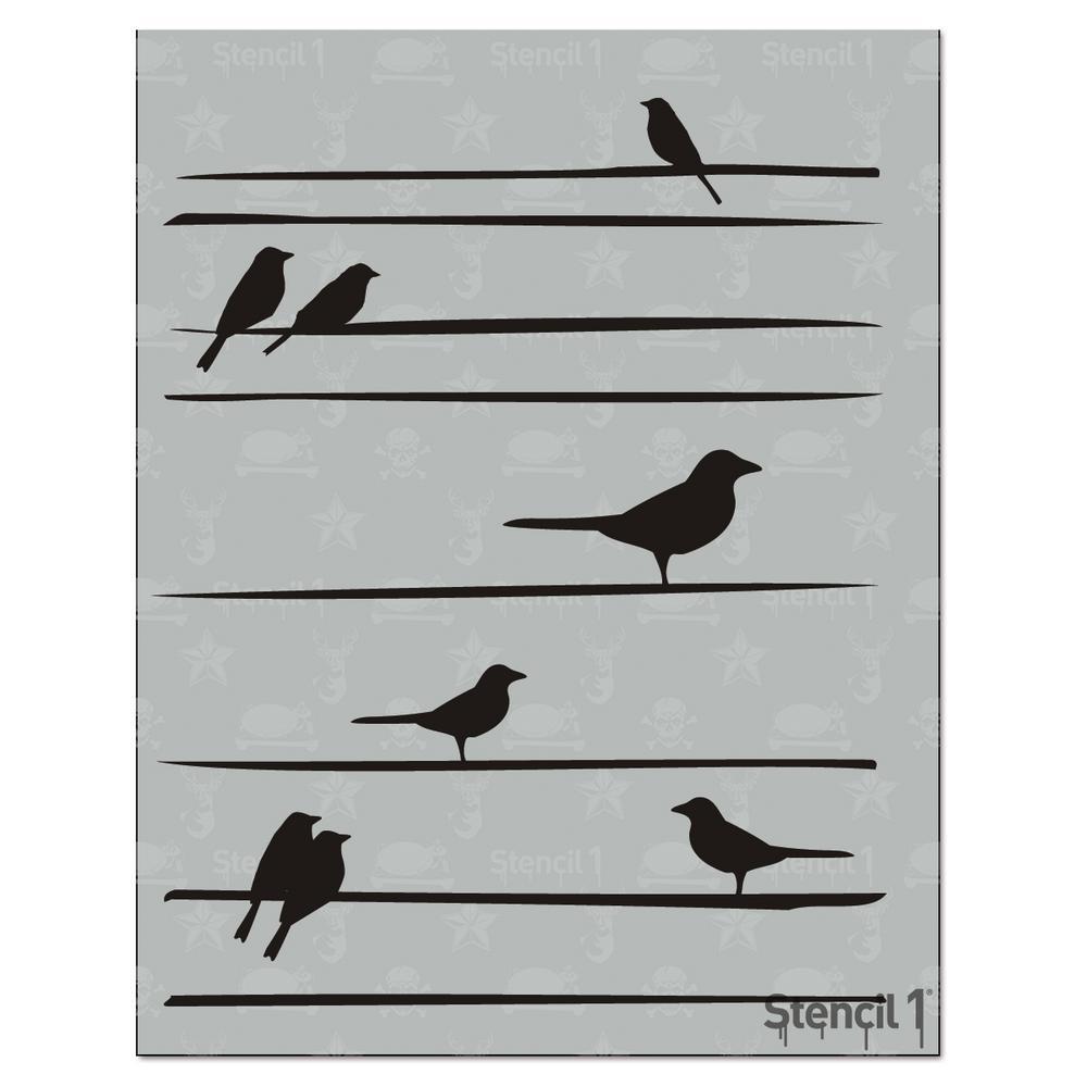 Bird on Straight Lines Stencil