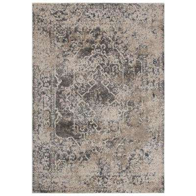 Venice Beige/Brown 3 ft. 11 in. x 5 ft. 6 in. Medallion/Distressed Area Rug