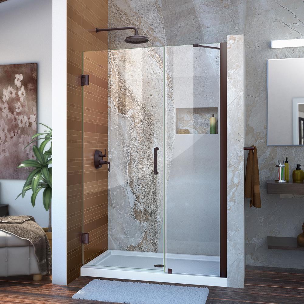 Unidoor 47 to 48 in. x 72 in. Frameless Hinged/Pivot Shower