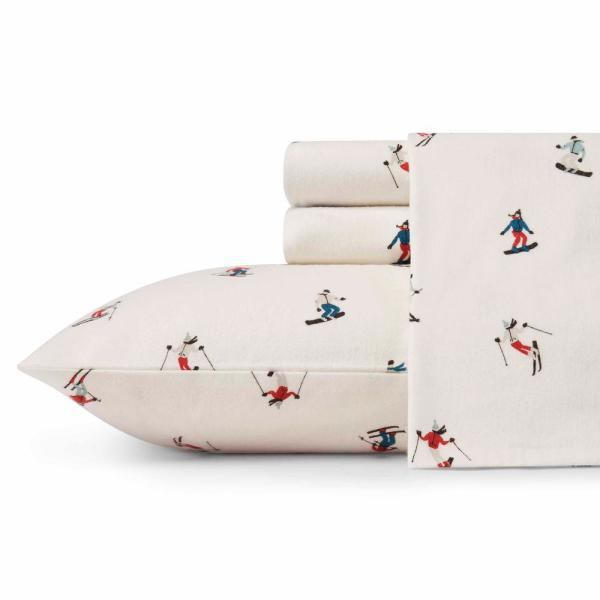 4-Piece Ski Slope Multicolored Graphic Flannel King Sheet Set
