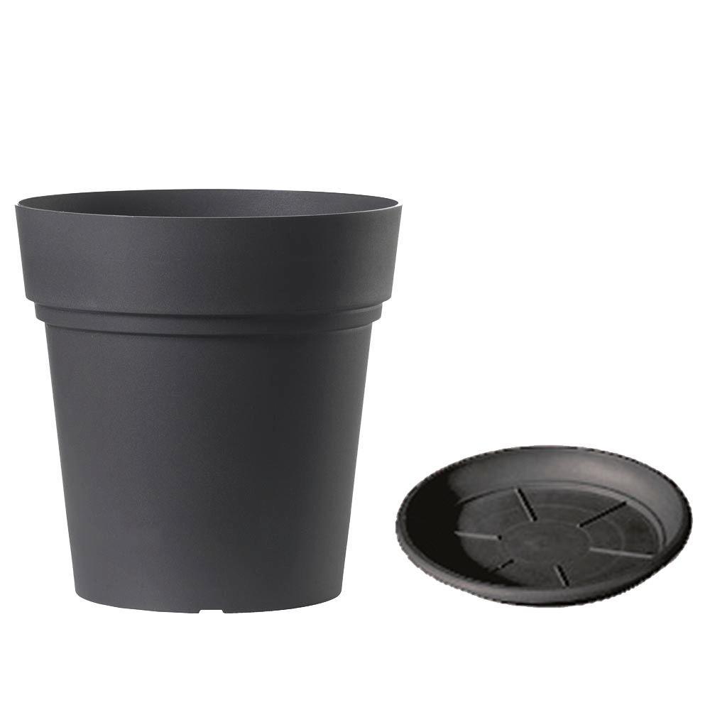 Deroma 11.8 in. Plastic Samba Dark Grey Planter