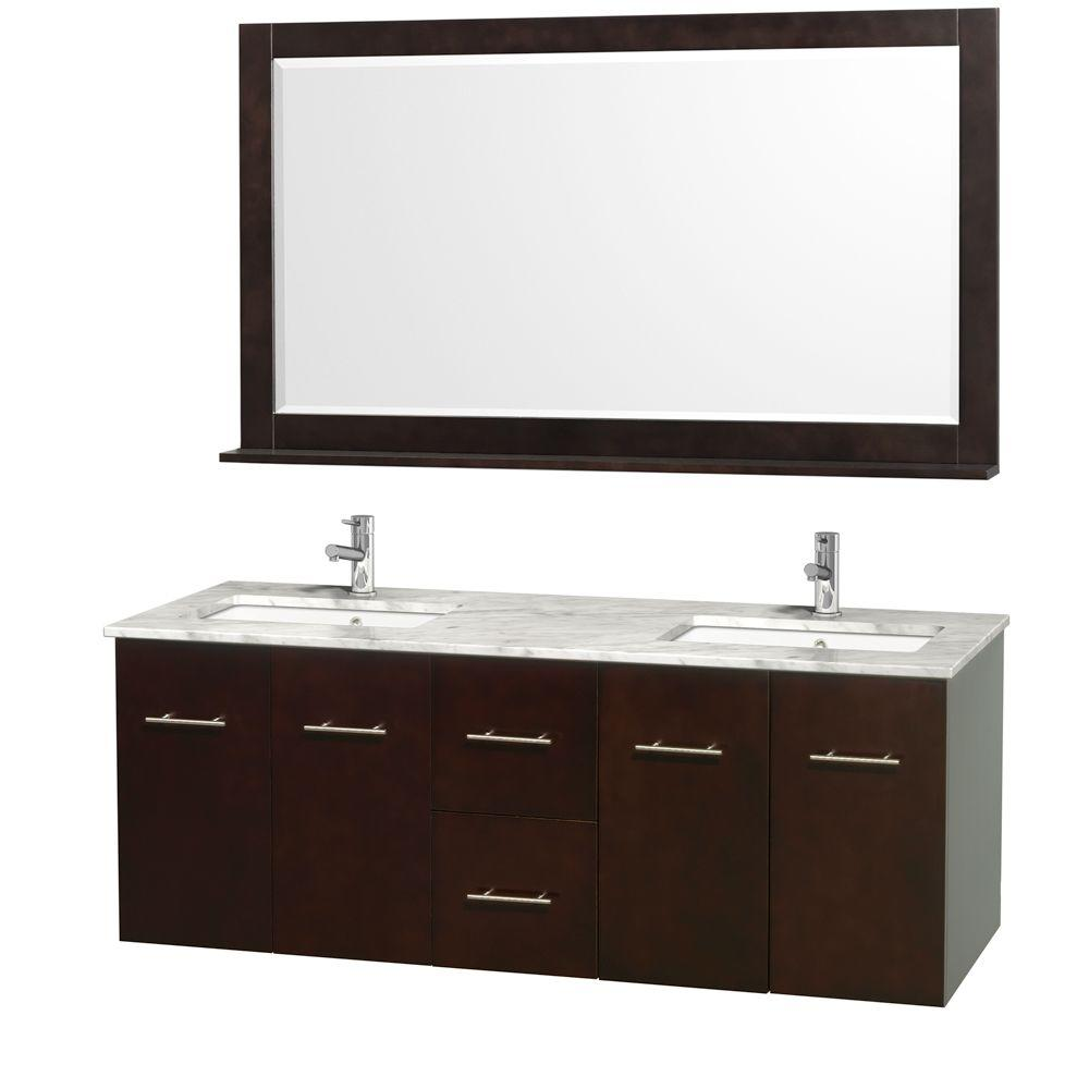 Wyndham Collection Centra 60 in. Double Vanity in Espresso with Marble Vanity Top in Carrara White and Under-Mount Sink