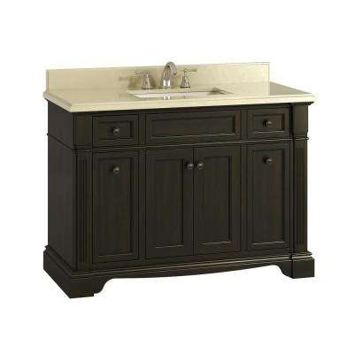 Bryon 48 in. White Artificial Marble Vanity Top with Single Basin in White and Backsplash