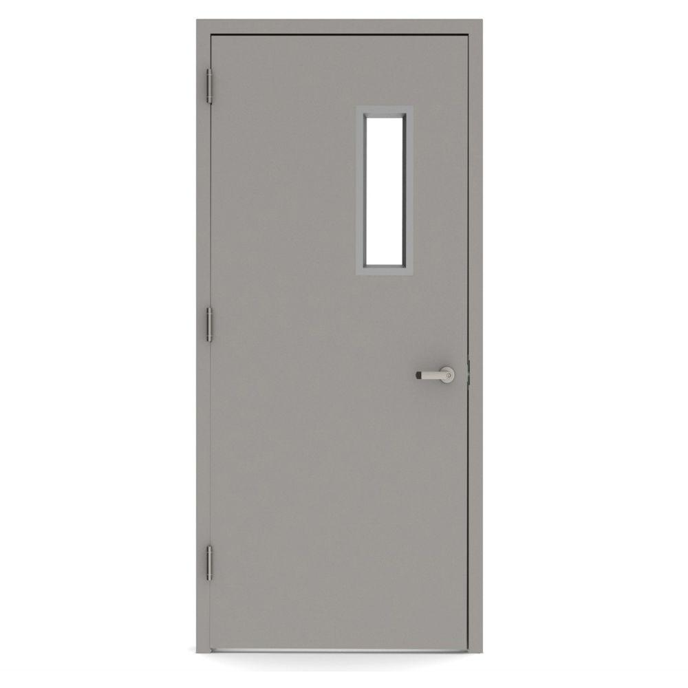 L.I.F Industries 36 in. x 80 in. Vision Lite 520 Right-Hand Steel Prehung Commercial Door with Welded Frame
