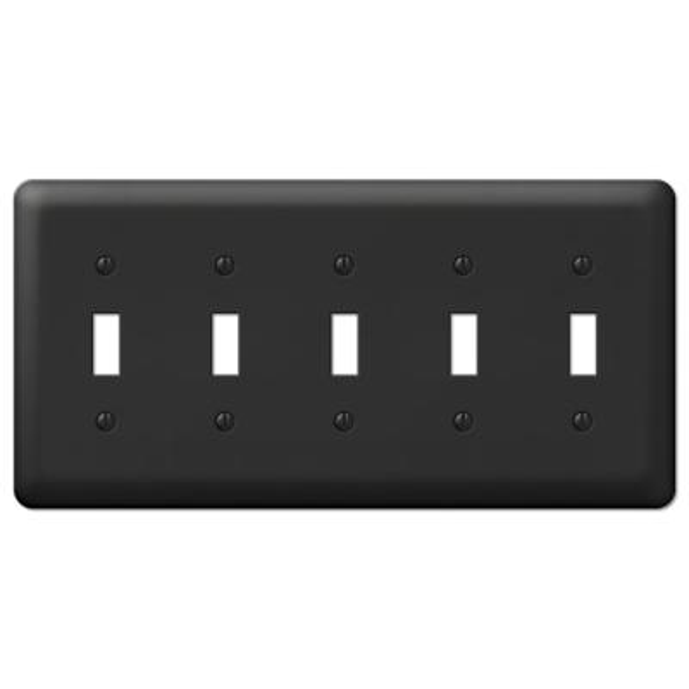 Declan 5 Gang Toggle Steel Wall Plate - Black