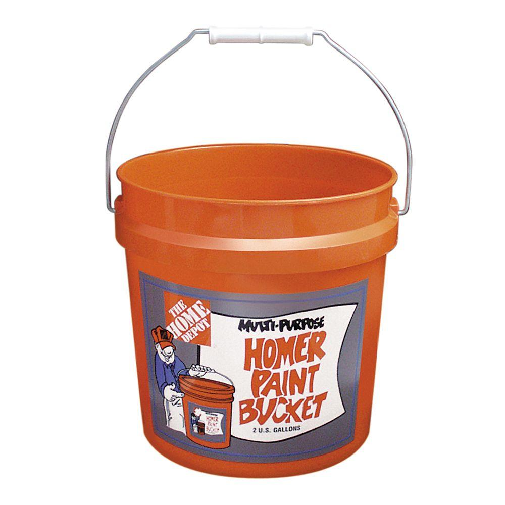 The Home Depot 2-gal. Homer Bucket, Orange The 2-Gallon Homer Bucket is ideal for small jobs around the house or job site. Use it to haul parts, paint, topsoil and other household or worksite items. This orange bucket features the original The Home Depot logo on one side and is constructed of rigid plastic for exceptional durability.