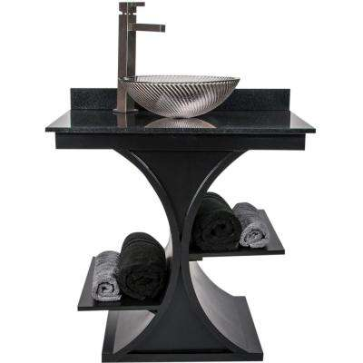 Cruz 31 in. W x 21.65 in. D Bath Vanity in Black with Granite Vanity Top in Black with Black Nickel Basin