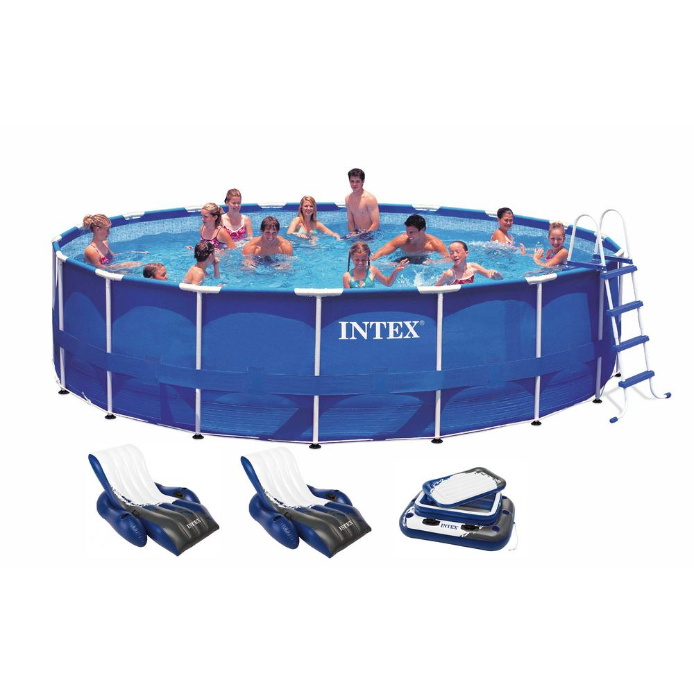 Intex 18 ft. x 48 in. Deep Round Metal Frame Above Ground Swimming Pool  with 1500 GFCI Pump