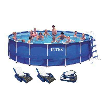 18 ft. x 48 in. Deep Round Metal Frame Above Ground Swimming Pool with 1500 GFCI Pump