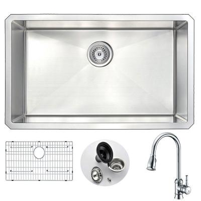 VANGUARD Undermount Stainless Steel 30 in. Single Bowl Kitchen Sink and Faucet Set with Sails Faucet in Brushed Satin