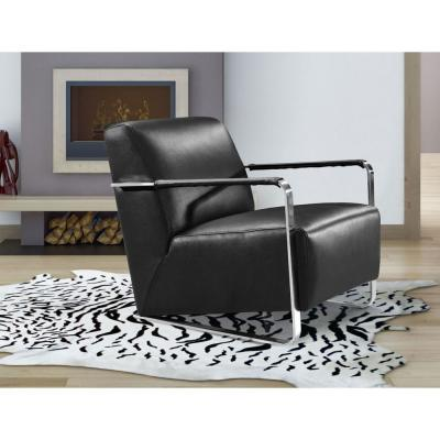 Valerie Black Leather Foam And Stainless Steel Lounge Chair