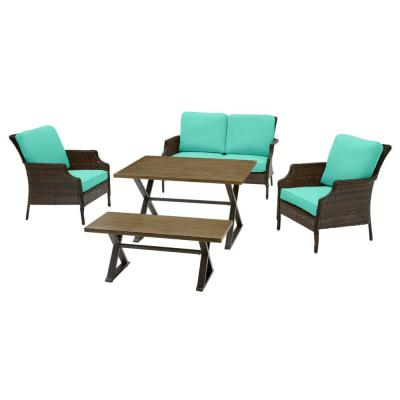 Grayson 5-Piece Brown Wicker Outdoor Patio Dining Set with CushionGuard Seaglass Turquoise Cushions