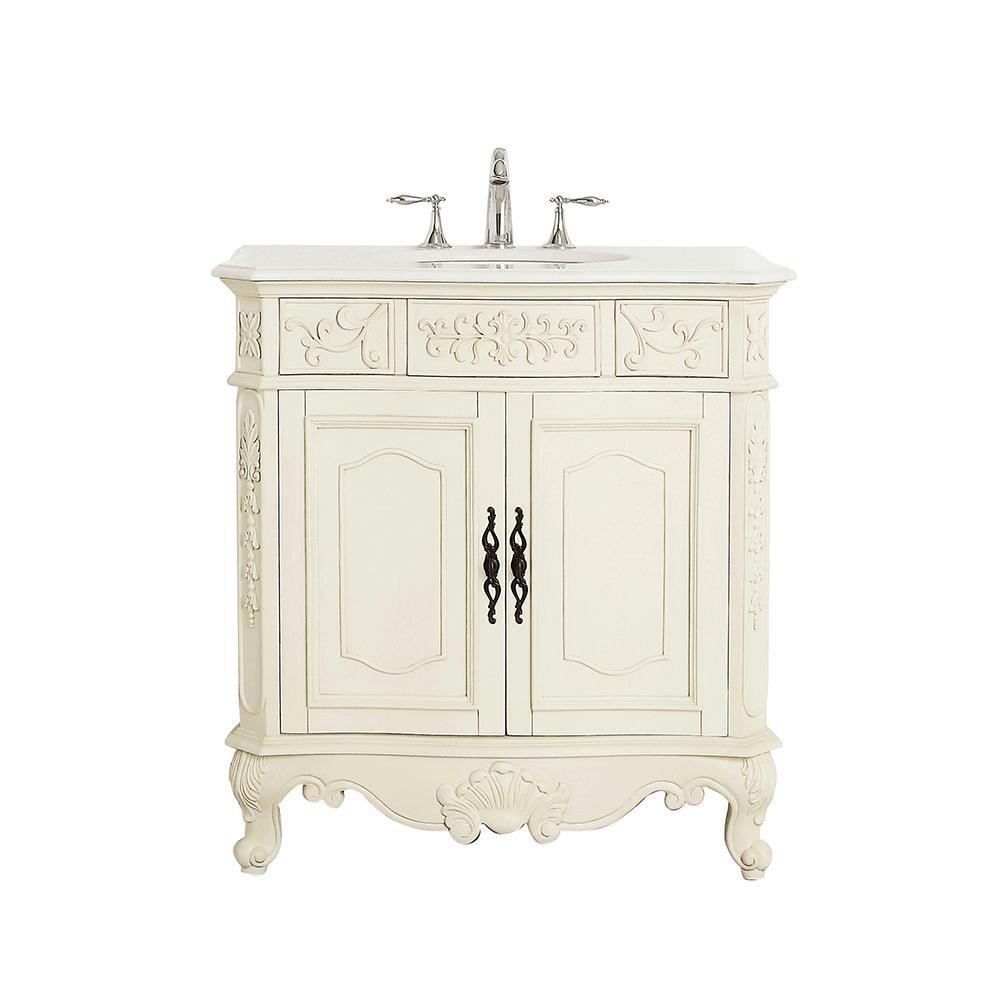 Winslow 33 in. W x 22 in. D Vanity in Antique White with Marble Vanity Top in White with White Sink