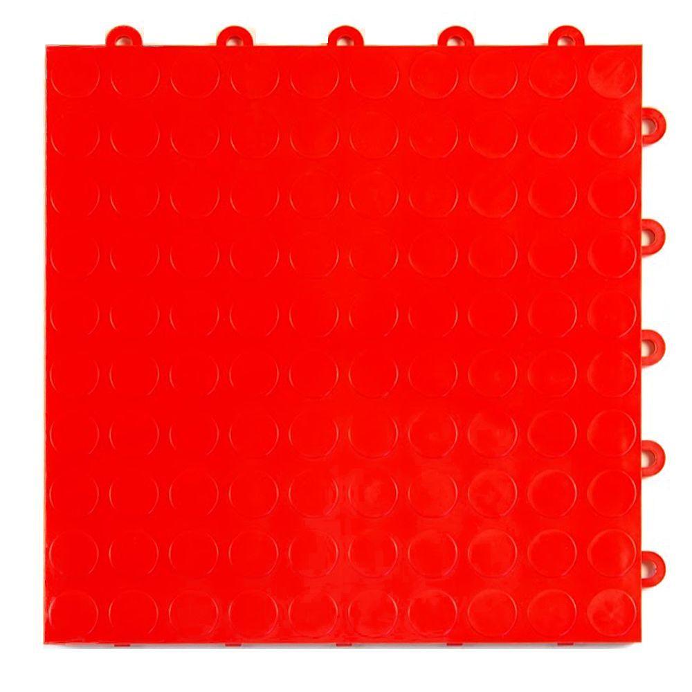 Coin Top 1 ft. x 1 ft. x 5/8 in. Red Polypropylene Interlocking Garage Floor Tile (Case of 24)