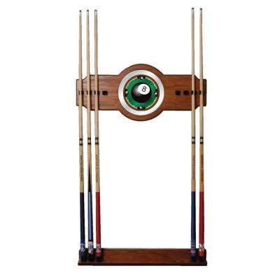8-Ball Rack'em 30 in. Wooden Cue Rack with Mirror