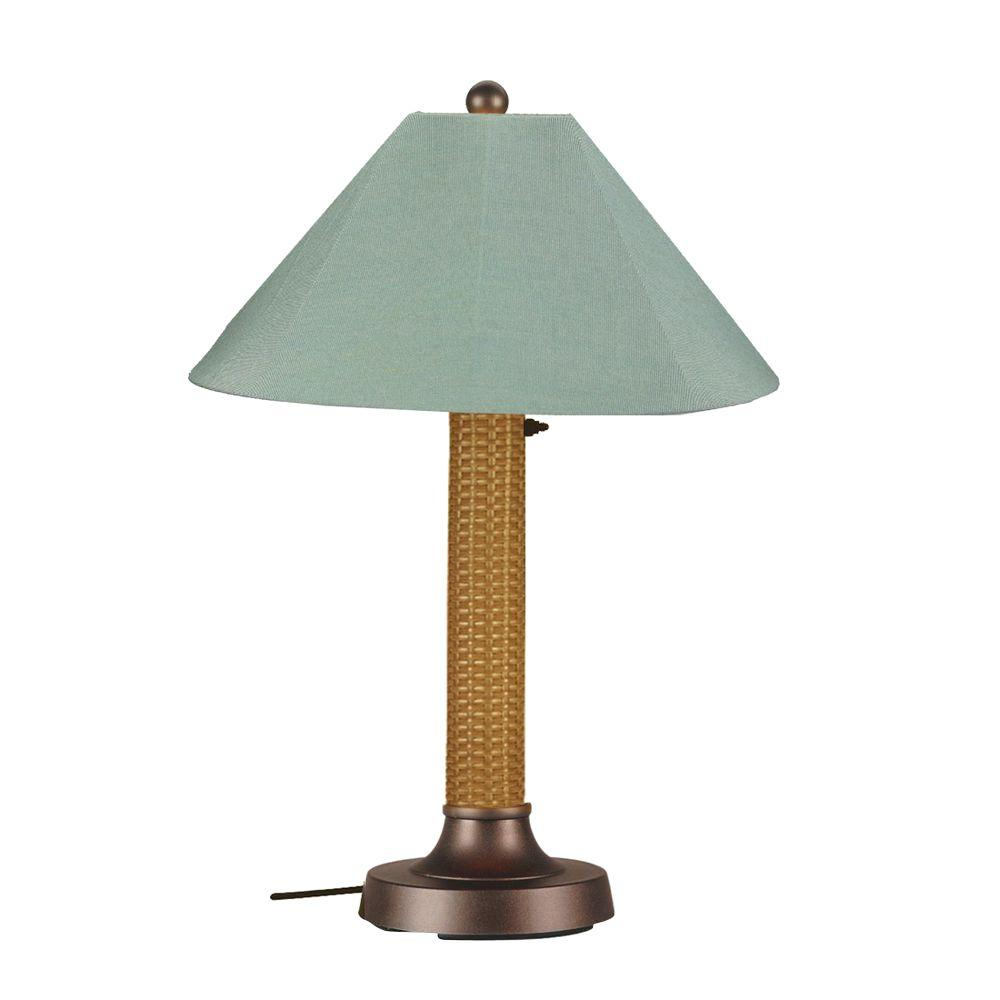 Bahama Weave 34 in. Mocha Cream Outdoor Table Lamp with Spa