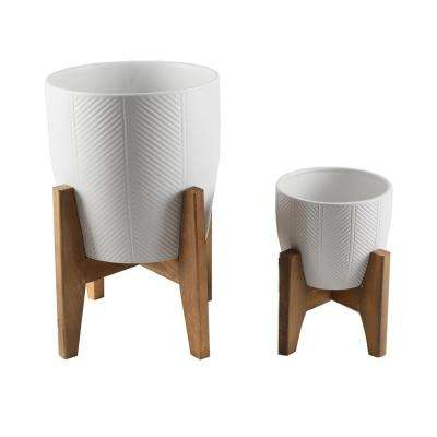 10 in. and 6.6 in. Matte White Chevron Ceramic Plant Pot on Wood Stand Stand Mid Century Planter (Set of 2)