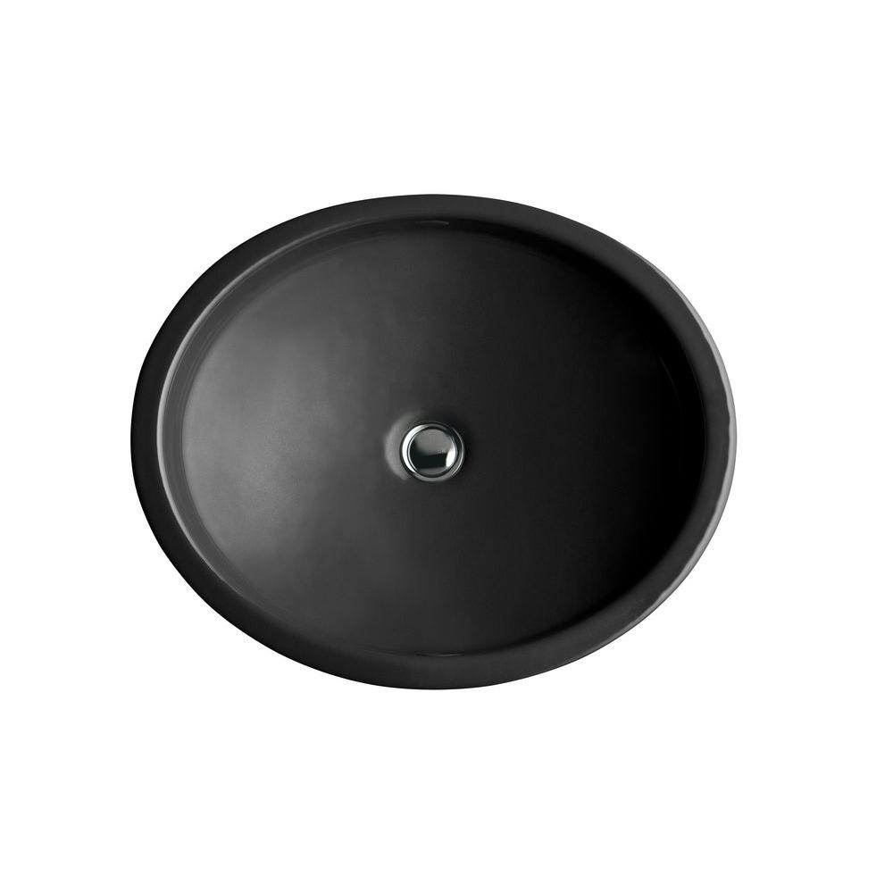 Kohler Canvas Undermount Cast Iron Bathroom Sink In Black Black With Overflow Drain K 2874 7
